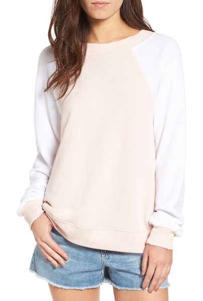 Wildfox destroyed sommers sweatshirt in pink gloss/ clean white - Distressed edges age the look of a comfy-cozy...
