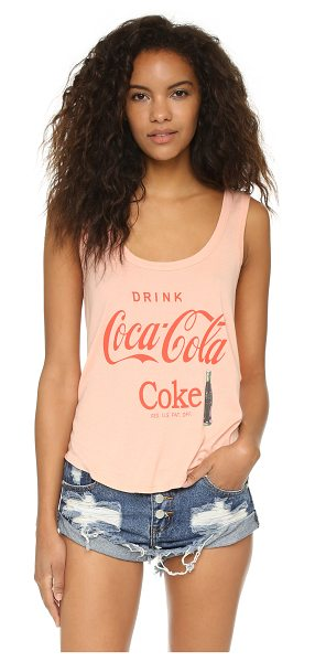 WILDFOX Drink coca cola road trip tank in cotton candy - A slouchy Wildfox tank in ribbed jersey detailed with...