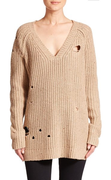 Wildfox Dusk distressed knit tunic sweater in oatmeal - Chunky-knit sweater with shredded detailRibbed v-neck,...