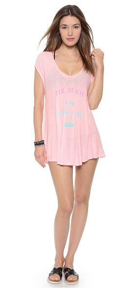 Wildfox Happy place beach tunic in pink bamboo - 'The Beach Is My Happy Place' lettering brings charm to...