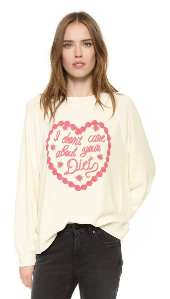 Wildfox I dont care about your diet sweatshirt in pearl - A scalloped heart and cursive 'I don't care about your...