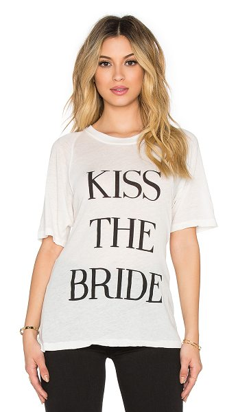 Wildfox Kiss the bride tee in cream - 50% poly 50% cotton. Front graphic print. Semi-sheer...