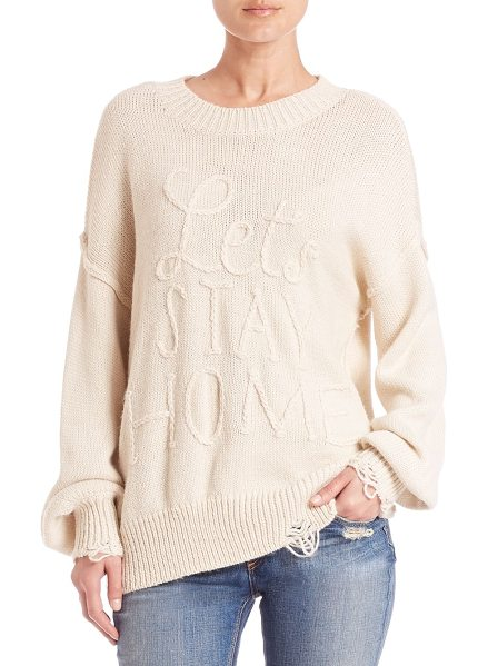 "Wildfox Let's stay home knit sweater in vintagelace - Oversized knit with ""Let's Stay Home"" textRibbed..."
