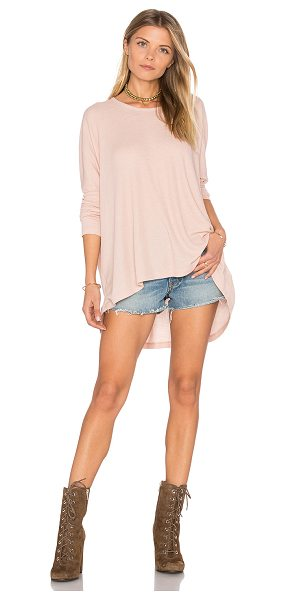 Wildfox Long Sleeve Top in rose smoke - 50% poly 50% rayon. Hand wash cold. Embroidered logo...