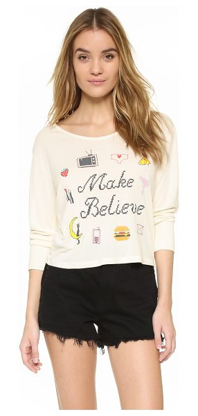 Wildfox Make believe long sleeve tee in pearl - Pixelated graphics and cross stitch style 'Make Believe'...