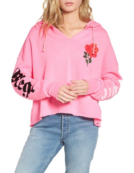 Wildfox mega chic freddy hoodie in neon sign pink - Slouchy and oversized, this soft fleece hoodie makes a...