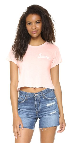 Wildfox Sinner middie tee in arizona blush - 'Sinner' lettering accents this casual Wildfox crop top....