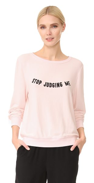 Wildfox stop judging sweatshirt in seashell pink - A signature Wildfox sweatshirt detailed with 'Stop...
