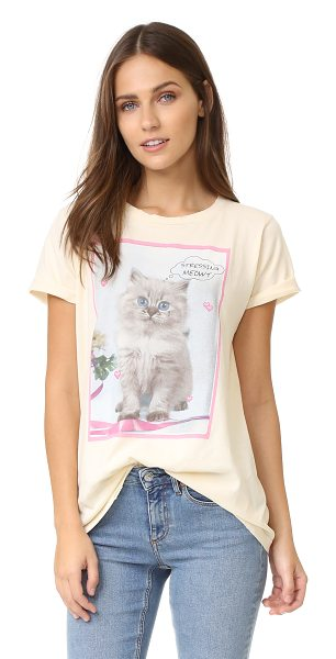 Wildfox Stressin crew tee in vanilla latte - A retro kitten graphic and 'Stressing meowt' lettering...