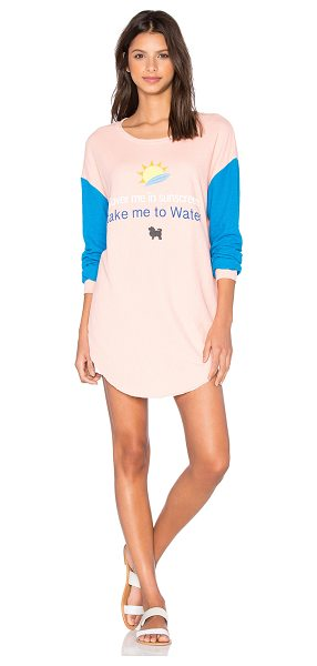 Wildfox Sunscreen Tee in coral - 53% cotton 31% poly 16% rayon. Front graphic print....