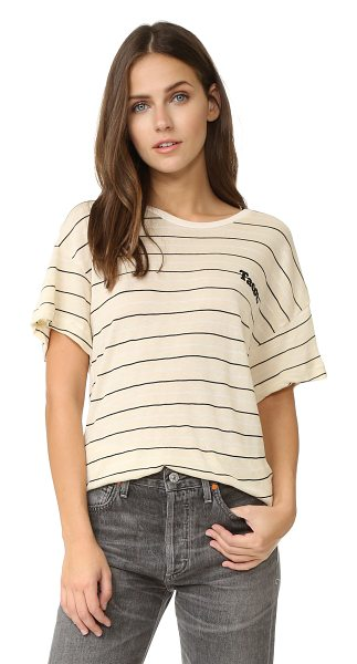 Wildfox Tacos stripe tee in vanilla latte - Iron on 'Tacos.' lettering details the breast of this...