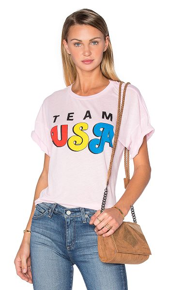 Wildfox Team USA Tee in pink - 50% poly 50% cotton. Front graphic print. WILD-WS903....