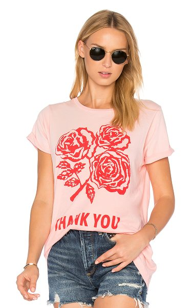 Wildfox Thank You Tee in pink - Cotton blend. Hand wash cold. Screen print graphics....