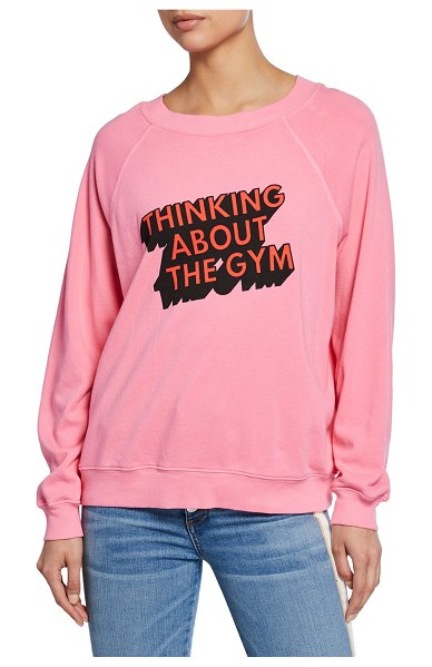 Wildfox Thinking About The Gym - Sommers Cotton Terry Sweater in pink