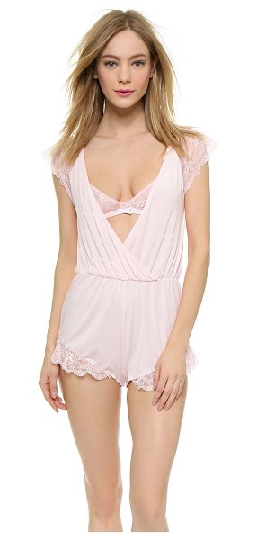 Wildfox To have & to hold romper in blushing bride - Lace trim brings a feminine look to this soft jersey...