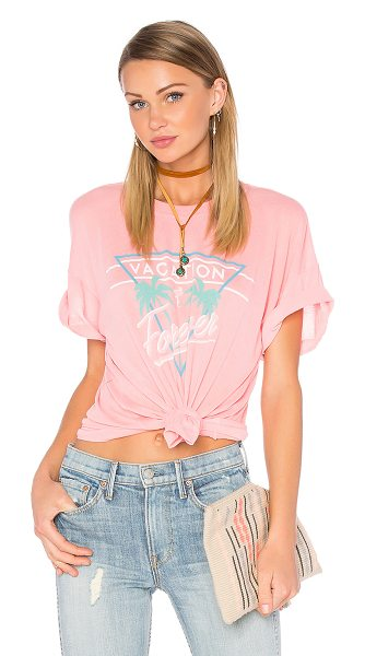 Wildfox Vacation mode tee in coral - 50% poly 50% cotton. Front graphic print. Lightweight...