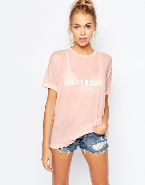 WILDFOX Vintage look t-shirt with hollywoodland print - T-shirt by Wildfox, Semi-sheer, cotton-mix jersey, Round...