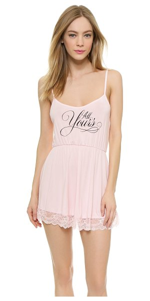 Wildfox Wedding night lace chemise in blushing bride - A flirty Wildfox chemise made from soft jersey. Elastic...
