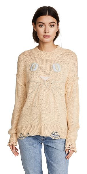 Wildfox whiskers sweater in brut peach - Fabric: Knit Cat embroidery Loose-knit edges Distressed...
