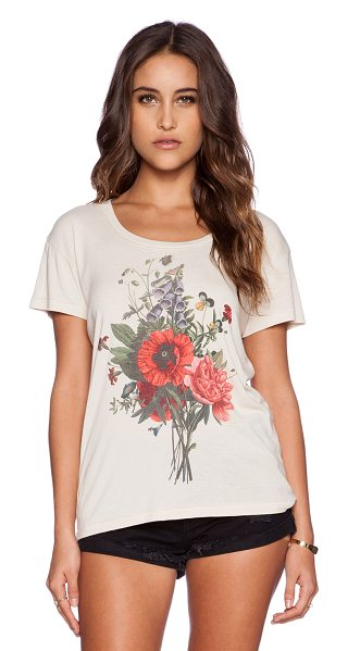Wildfox Wild flowers tee in beige - 65% poly 35% cotton. Screen print graphics. WILD-WS705....