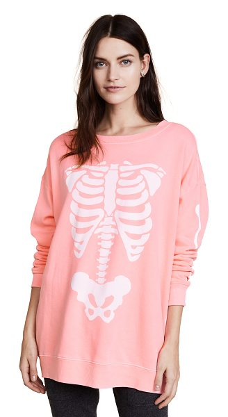 Wildfox x-ray vision roadtrip sweatshirt in neon sign pink - A fluorescent Wildfox sweatshirt with an X-ray skeleton...