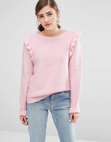 Willow and Paige Ribbed Sweater With Shoulder Ruffle in pink - Sweater by Willow Paige, Soft-touch knit, Ribbed...