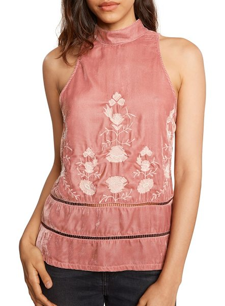 Willow & Clay embroidered velvet top in rose - Beaded floral embroidery paired with a ruffled hem makes...