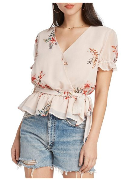 Willow & Clay floral faux wrap top in ballet - A ruffled peplum hem highlights the casual romance of a...