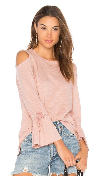 Wilt Cold Shoulder Tie Sleeve Tee in blush - 100% cotton. Slub knit fabric. Shoulder cut-outs....
