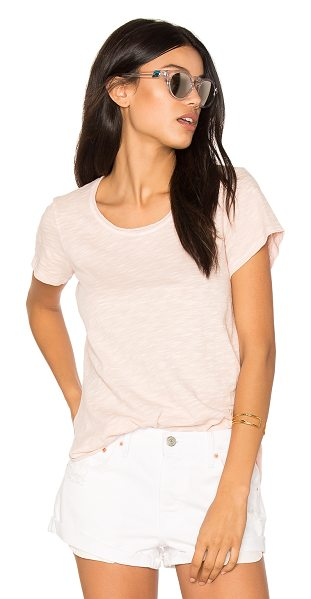 Wilt Double Twisted Hem Tee in pink - 100% cotton. Slub knit fabric. Unfinished asymmetric...