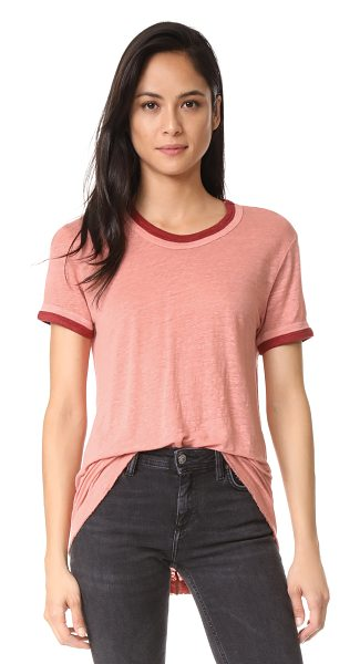 Wilt easy color contrast tee in parchment/brick - Slinky, slubbed linen lends a relaxed hand to this Wilt...