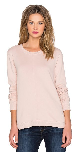 Wilt French terry trapeze sweatshirt in blush - 100% cotton. Contrast ribbed trim. Raw cut hem....