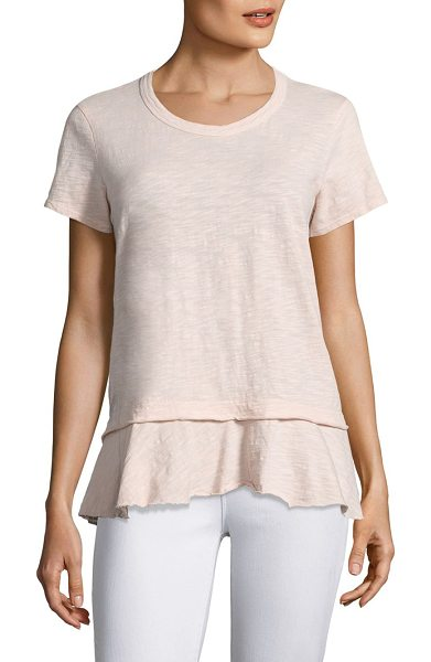 Wilt mock layered cotton tee in pink salt - Slub cotton tee finished with ruffled raw-edge hem....