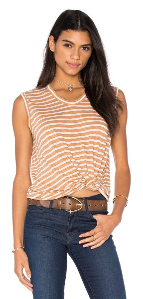 Wilt Shadow Stripe Muscle Tank in tan - 72% linen 28% poly. Slub jersey knit fabric. WILT-WS857....