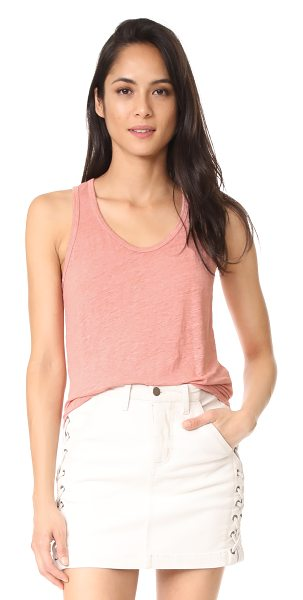 Wilt shrunken shirttail tank in parchment - Linen jersey lends effortless drape to this relaxed Wilt...