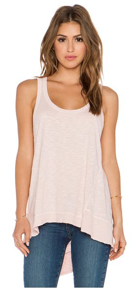 WILT Slub baby back slant tank - 100% cotton. Rib knit edges. Slub fabric. Asymmetrical...
