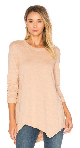 Wilt Slub Easy Crew Top in blush - 100% cotton. Slub knit fabric. Asymmetrical hem. Ribbed...