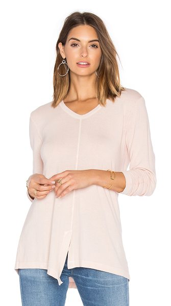 Wilt Split Slouchy Long Sleeve Tee in blush - 100% cotton. Front seam slit. WILT-WS936. W664514. Wilt...
