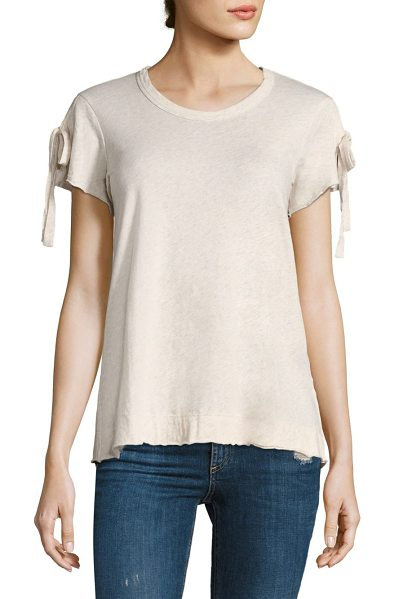 Wilt tie up sleeve tee in nude heather - Tie-up sleeves bring attention to this cotton tee....