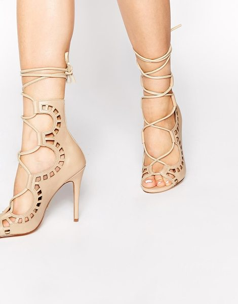 WINDSOR SMITH Nude ghillie tie up peep toe shoes - Shoes by Windsor Smith Matte leather upper Cut out...
