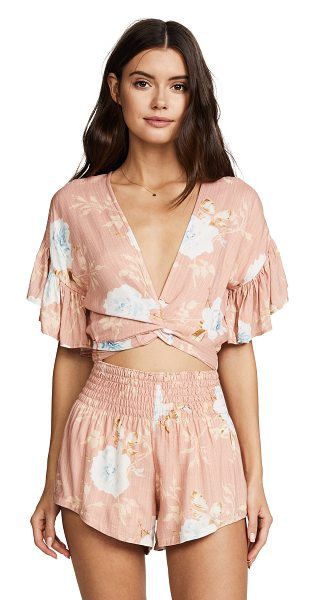 Winston White aurora romper in peony - Fabric: Soft weave Front cutout Floral print Shorts cut...
