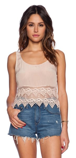 Winston White Carson tank in blush - 100% viscose. Dry clean only. Crochet lace trim. Scoop...
