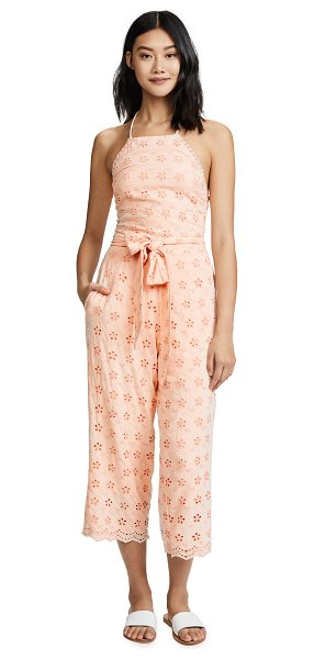 Winston White nicola jumpsuit in blush - An eyelet Winston White jumpsuit with slits at the...