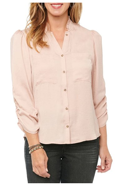 Wit & Wisdom ruched sleeve button-up shirt in pink (nordstrom exclusive)