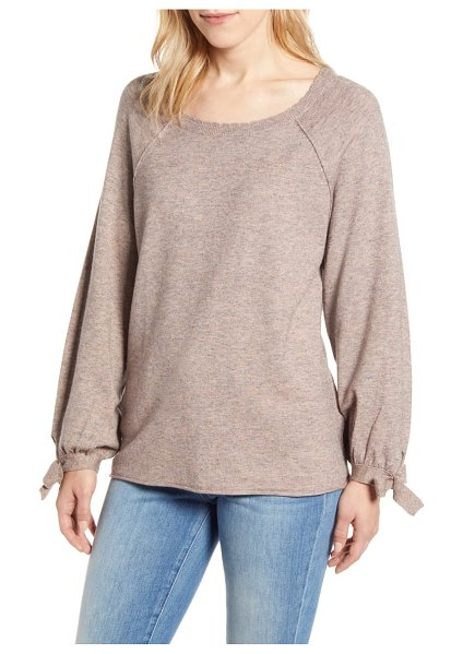 Wit & Wisdom tie sleeve sweater in brown (nordstrom exclusive)