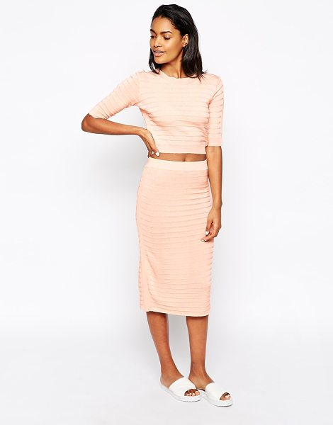 Won Hundred Alu tube skirt in knit co-ord in pink - Midi skirt by Won Hundred Textured, knit fabric...