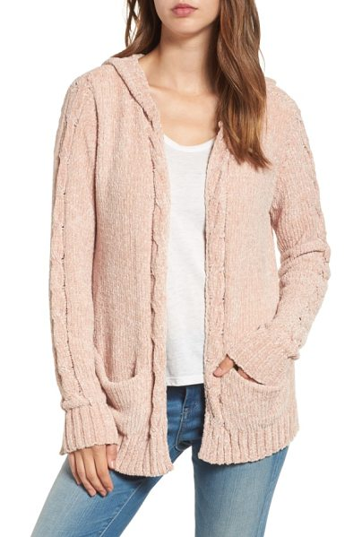 Woven Heart chenille hooded cardigan in blush - Knit from pale pink chenille, this sweet little hoodie...