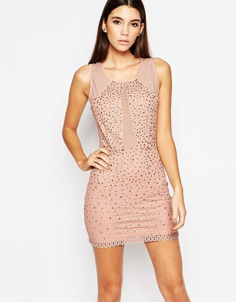 Wow Couture WOW Couture Allover Diamonte Mini Dress with Mesh Inserts in pink - Evening dress by Wow Couture, Rhinestone-embellished...