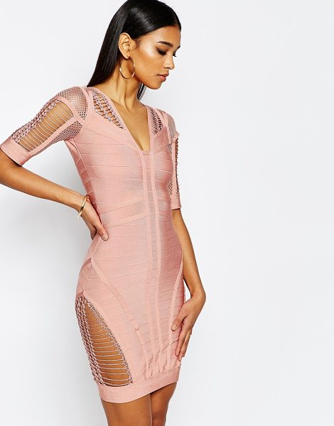 Wow Couture WOW Couture Bandage Body-Conscious Dress with Ladder Detail in pink - Body-Conscious dress by Wow Couture, Bandage knit,...
