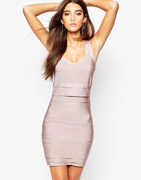 Wow Couture Bandage double strap body-conscious dress in pink - Body-Conscious dress by Wow Couture, Firm-stretch...